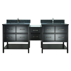 "62"" Black Gemma Vanity with Moonlight Black Quartz"