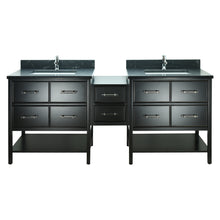 "Load image into Gallery viewer, 62"" Black Gemma Vanity with Moonlight Black Quartz"