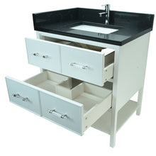"Load image into Gallery viewer, 24"" White Gemma Vanity with Moonlight Black Quartz"