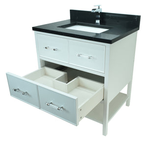 "24"" White Gemma Vanity with Moonlight Black Quartz"