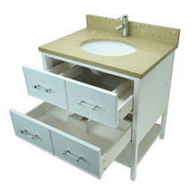 "Load image into Gallery viewer, 24"" White Gemma Vanity with Royal Brown Quartz"