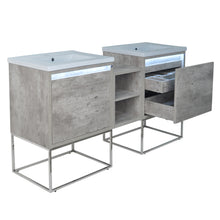 "Load image into Gallery viewer, 62"" Casey LED Double Sink Vanity with Middle Cabinet"