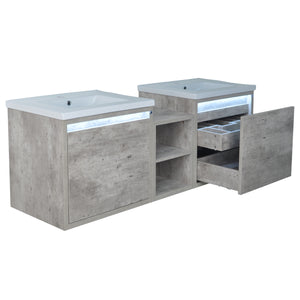 "62"" Casey LED Double Sink Vanity with Middle Cabinet"