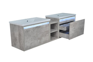"78"" Casey LED Double Sink Vanity with Middle Cabinet"