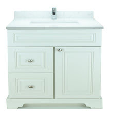 "Load image into Gallery viewer, 36"" Antique White Damian Vanity with Carrera Quartz"