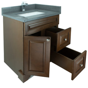 "24"" Royalwood Damian Vanity with Crystal Grey Quartz"