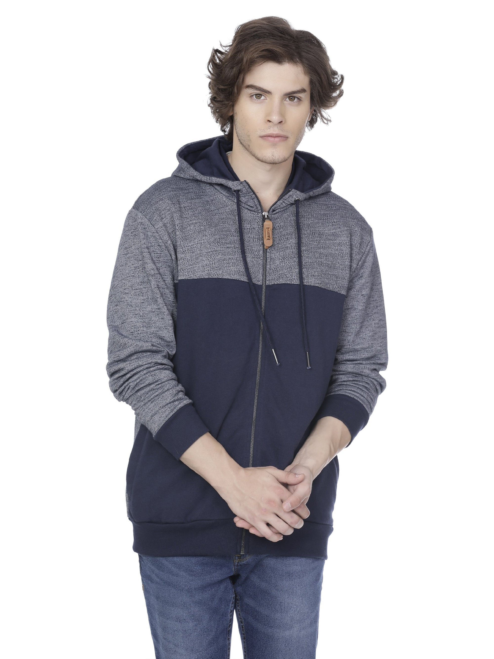 Grey and navy blue hoodie - Voi Jeans Pant Online