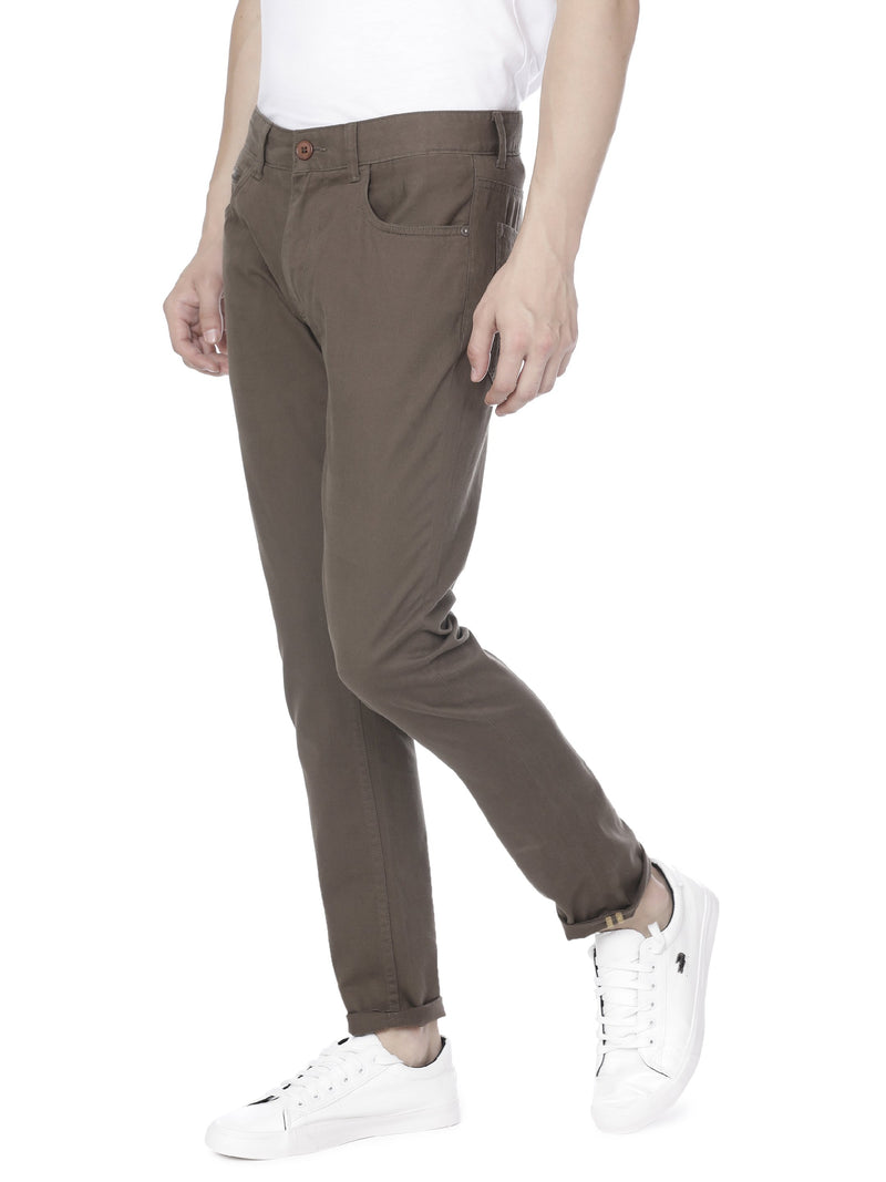 Solid brown chinos - Voi Jeans Pant Online