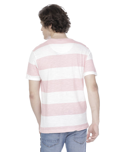 White and pink striper t-shirt - Voi Jeans Pant Online