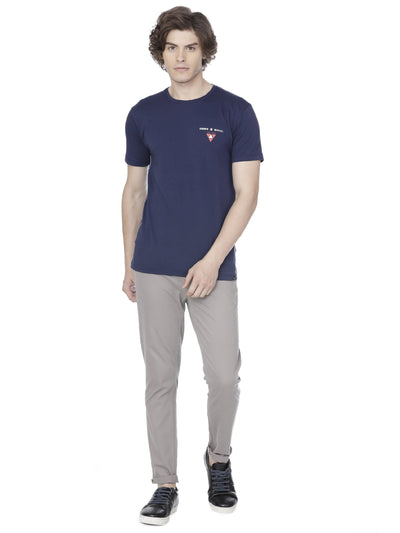 Navy blue stretch t-shirt - Voi Jeans Pant Online