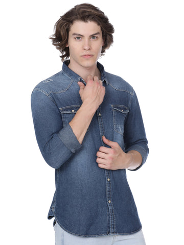 Denim shirt with light wash - Voi Jeans Pant Online