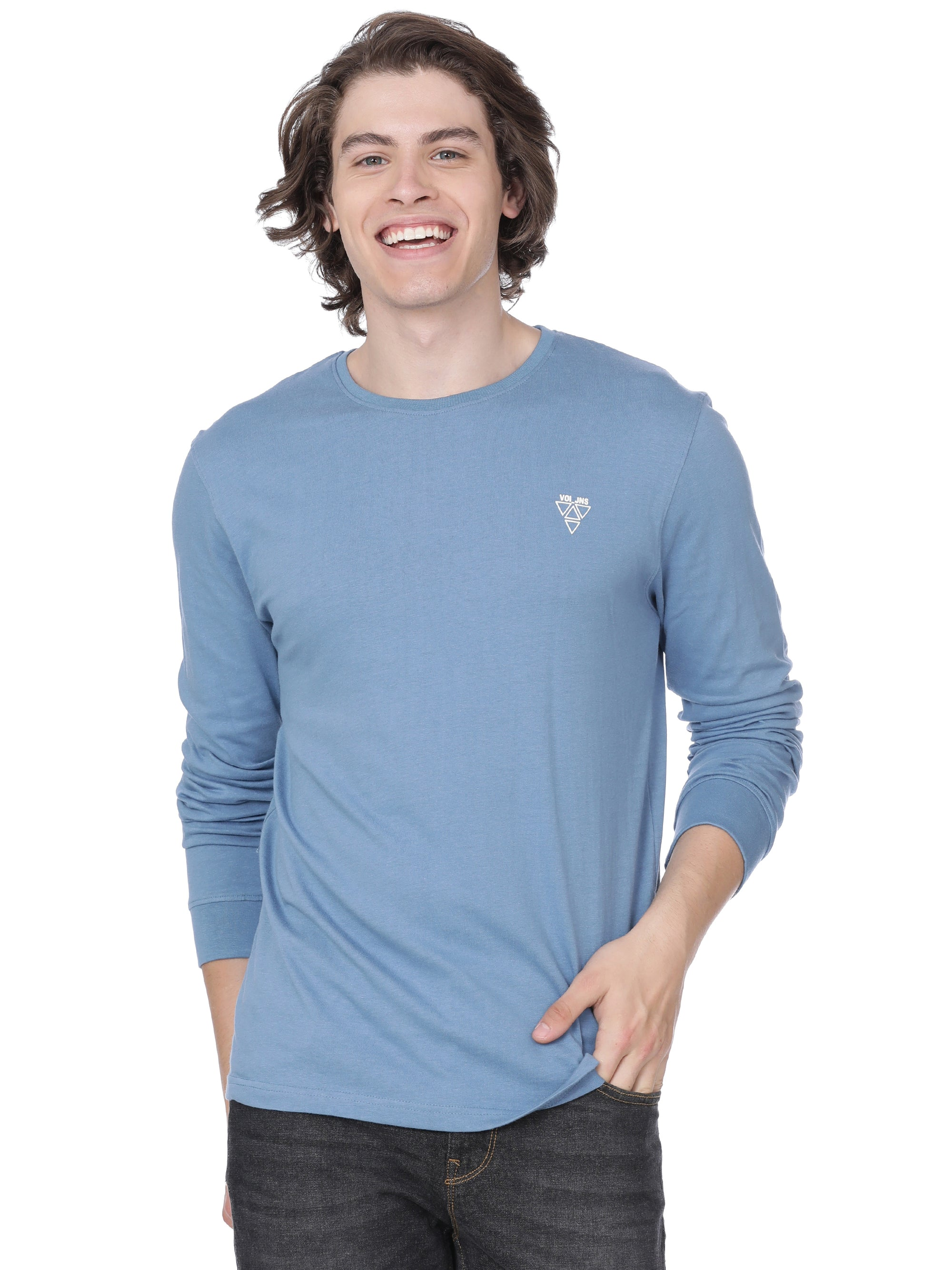 Light blue t-shirt full sleeves - Voi Jeans Pant Online