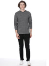 Grey slub t-shirt full sleeves - Voi Jeans Pant Online