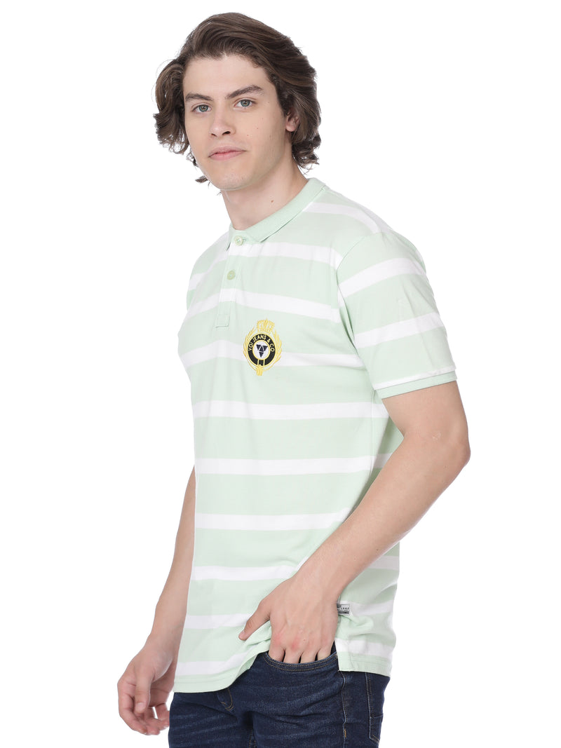Light green and white with hoops t-shirt - Voi Jeans Pant Online