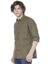 Olive green stretch shirt - Voi Jeans Pant Online