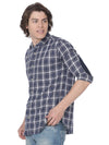 Indigo multi checkered t-shirt full sleeves - Voi Jeans Pant Online