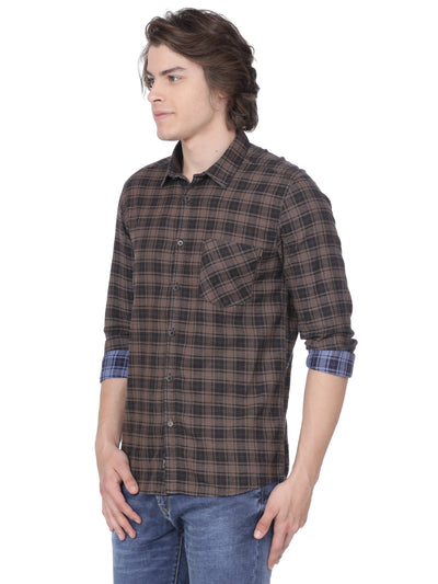 Brown checkered t-shirt - Voi Jeans Pant Online