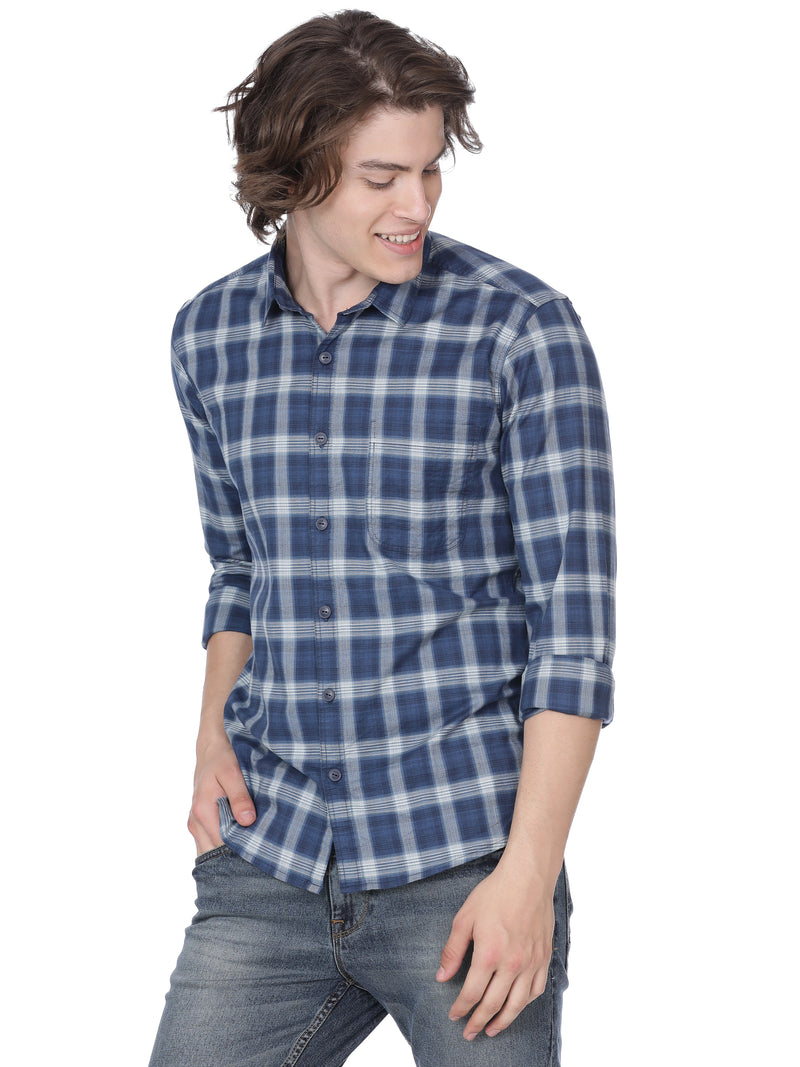 Dark blue with white checks shirt - Voi Jeans Pant Online