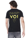 Solid black t-shirt with back print - Voi Jeans Pant Online