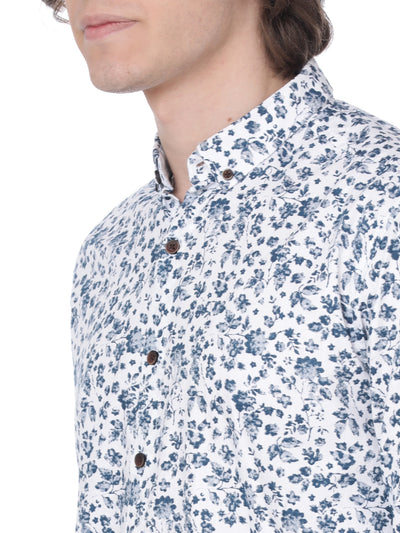 White and blue printed shirt - Voi Jeans Pant Online