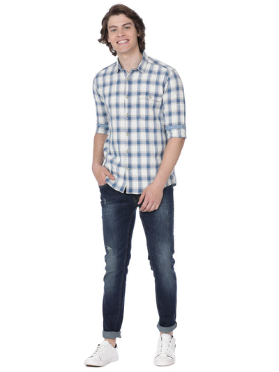White multi checkered shirt - Voi Jeans Pant Online