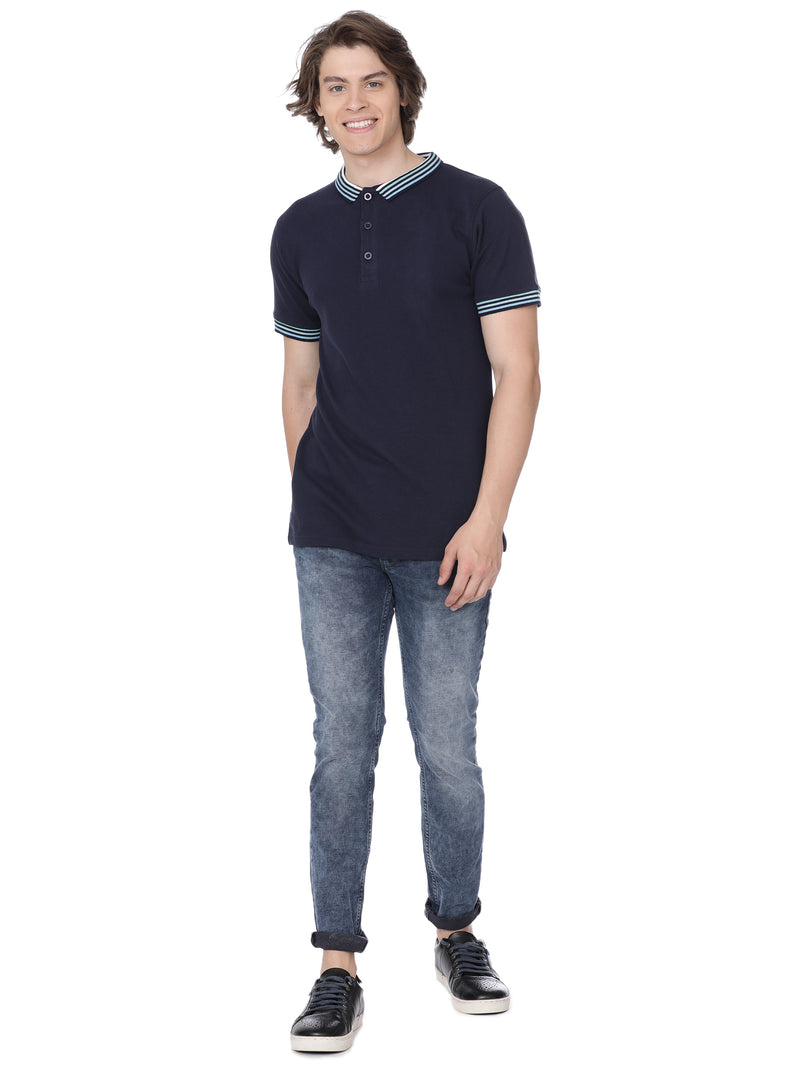 Navy blue t-shirt with ribbed collar - Voi Jeans Pant Online