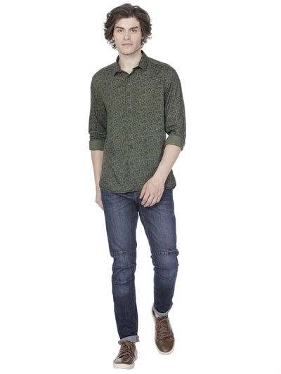 Olive floral printed shirt - Voi Jeans Pant Online