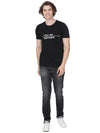 Solid black t-shirt wit chest print - Voi Jeans Pant Online
