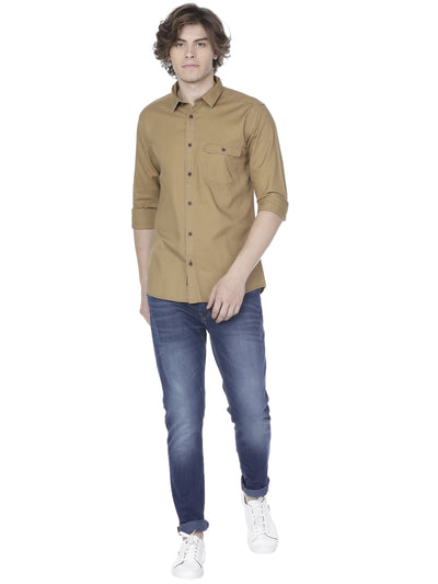 Khaki over-dyed shirt - Voi Jeans Pant Online