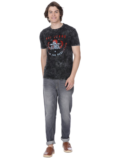 Black grey t-shirt with chest print - Voi Jeans Pant Online