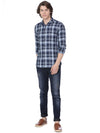 Blue and white multi checkered shirt - Voi Jeans Pant Online
