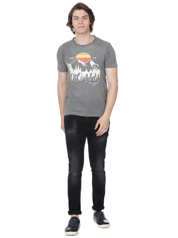 Charcoal t-shirt with front print - Voi Jeans Pant Online