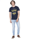 Navy blue t-shirt with chest print - Voi Jeans Pant Online