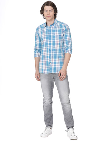Light blue multi checkered shirt - Voi Jeans Pant Online