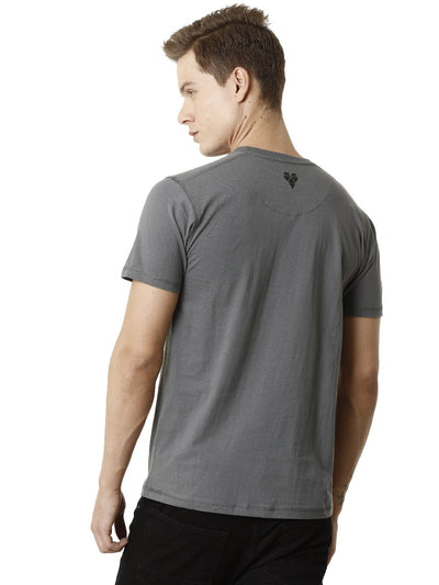 Grey Round Neck Graphics Half Sleeve Men's T-shirt