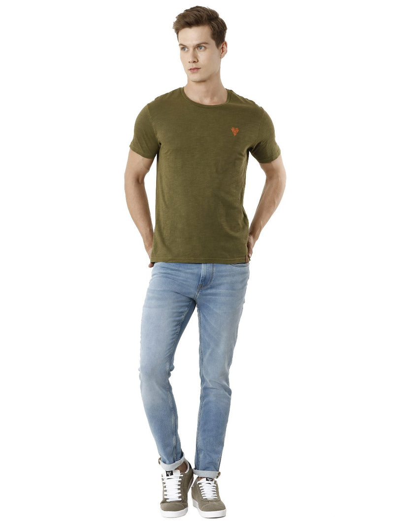 Over Dyed Olive Green Men's Half Sleeve T-shirt