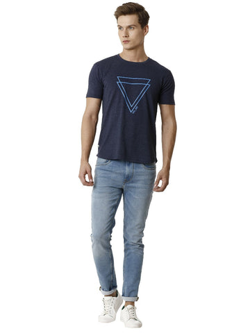 Blue Melange Graphic Printed Men's Half Sleeve T-shirt