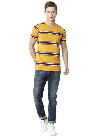 Yellow Yarn Dyed Horizontal Stripper Men's Half Sleeve T-shirt