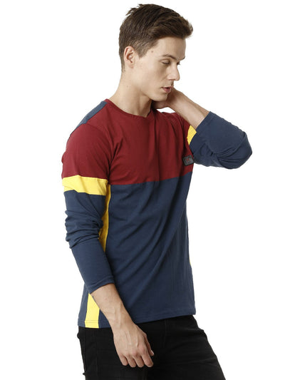 Cut and Sew Teal and Burgandi Full Sleeve Men's T-shirt
