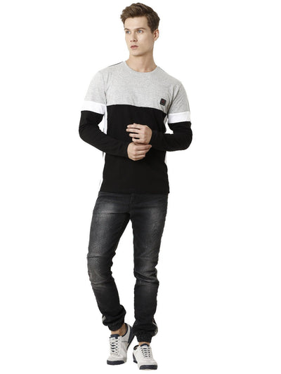 Grey and Black Cut and Sew Men's Full Sleeve T-shirt