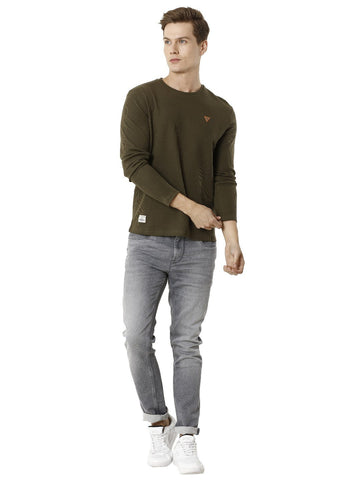 Olive Green Full Sleeve Men's Round Neck T-shirt