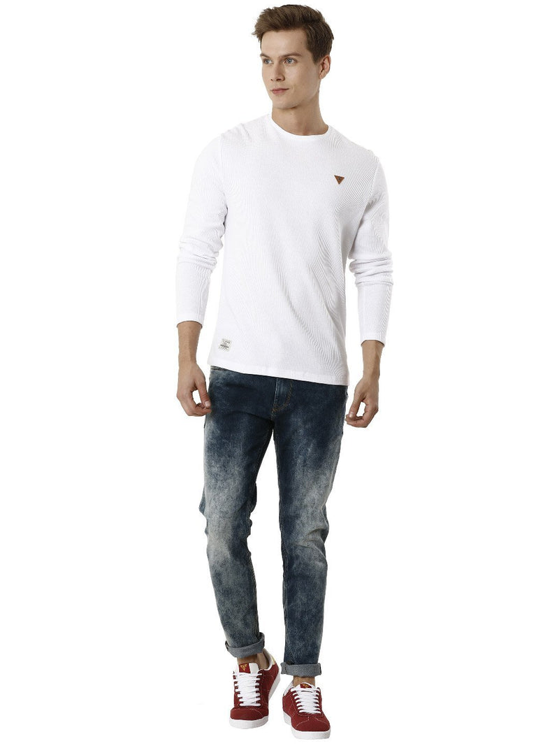 White Round Neck Full Sleeve Men's T-shirt