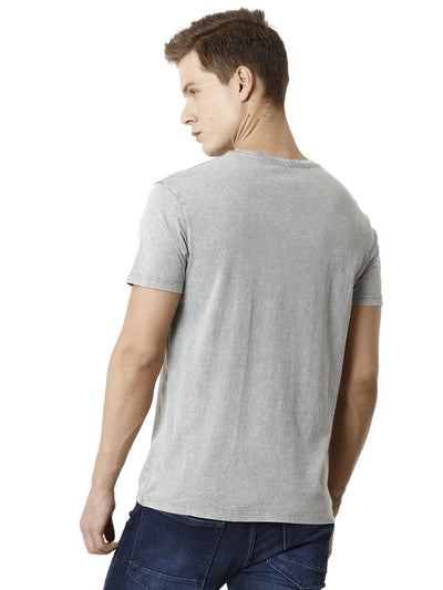 Grey Washed Chest Print Graphic Men's Half Sleeve T-shirt