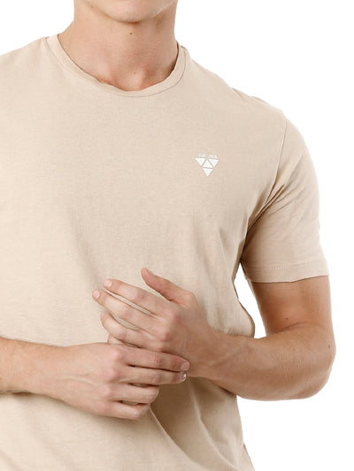 Beige Plain Half Sleeve Men's T-shirt