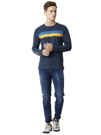 Navy Blue Cut and Sew Full Sleeve Men's T-shirt