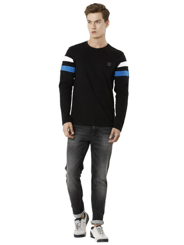 Black Cut & Sew T-shirt, Men's Topwear, T-shirt