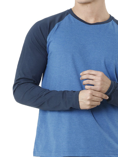 Blue Raglan Sleeve Men's Full Sleeve T-shirt