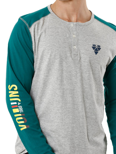 Green and Grey Raglan Sleeve Full Sleeve Men's T-shirt