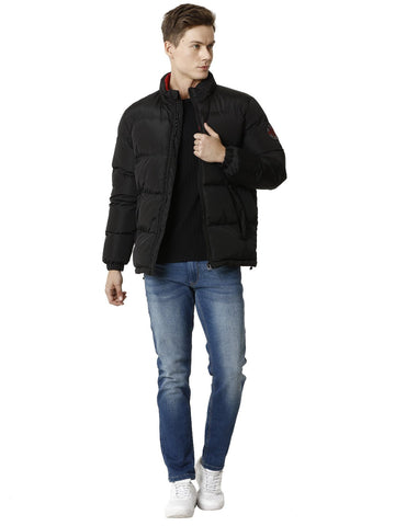 Black Polyester Puffer Men's Jacket with Red Detail - VOI x CANADA