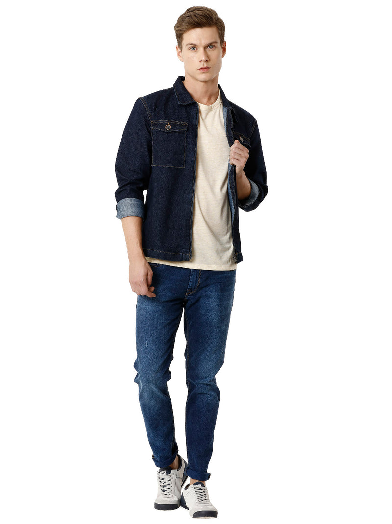 Dark Blue Western Men's Denim Jacket